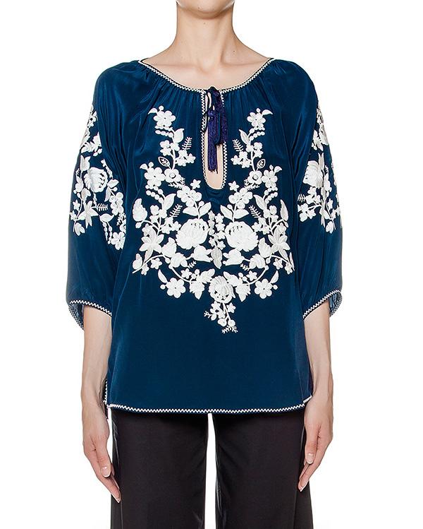 блуза свободного кроя из легкого шелка с вышивкой артикул SUSINO310611 марки P.A.R.O.S.H. купить за 13600 руб.