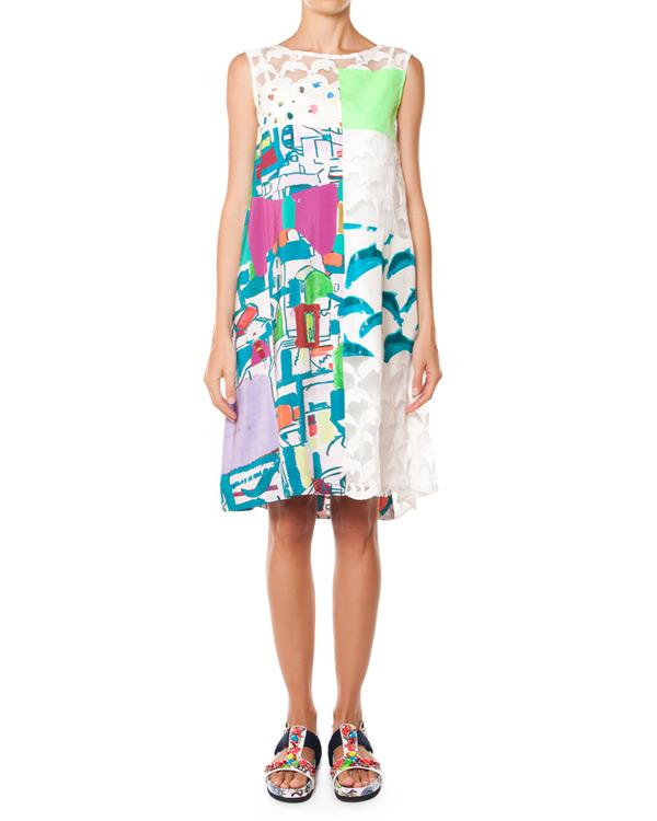 платье из шелка, украшено вышивкой и яркими принтами артикул TC57FH069 марки Tsumori Chisato купить за 36300 руб.