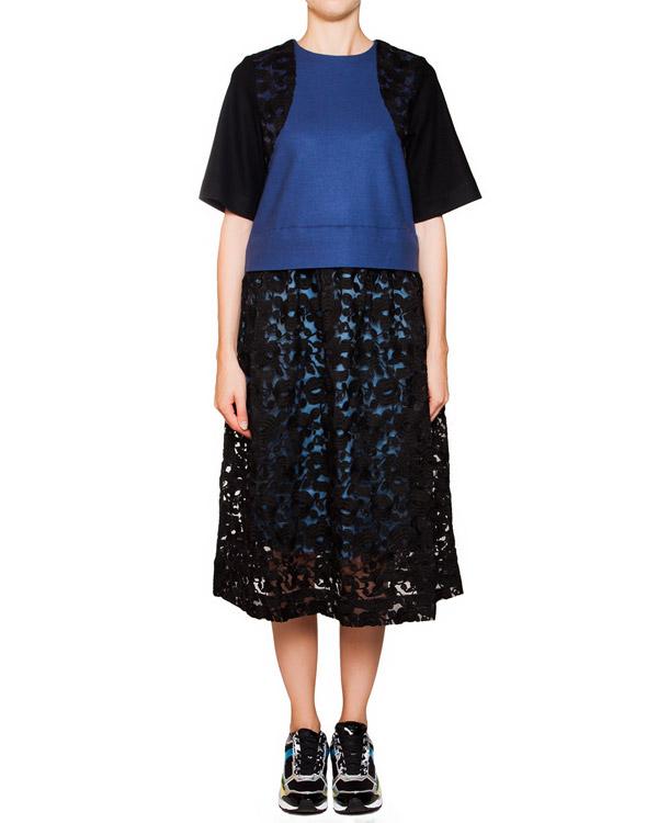 платье из мягкой шерсти с кружевной юбкой и рукавами артикул TC59JH045 марки Tsumori Chisato купить за 27400 руб.