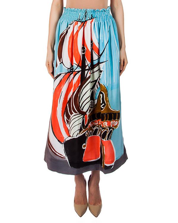 юбка из легкого струящегося шелка с ярким рисунком артикул TC67FG083 марки Tsumori Chisato купить за 27700 руб.