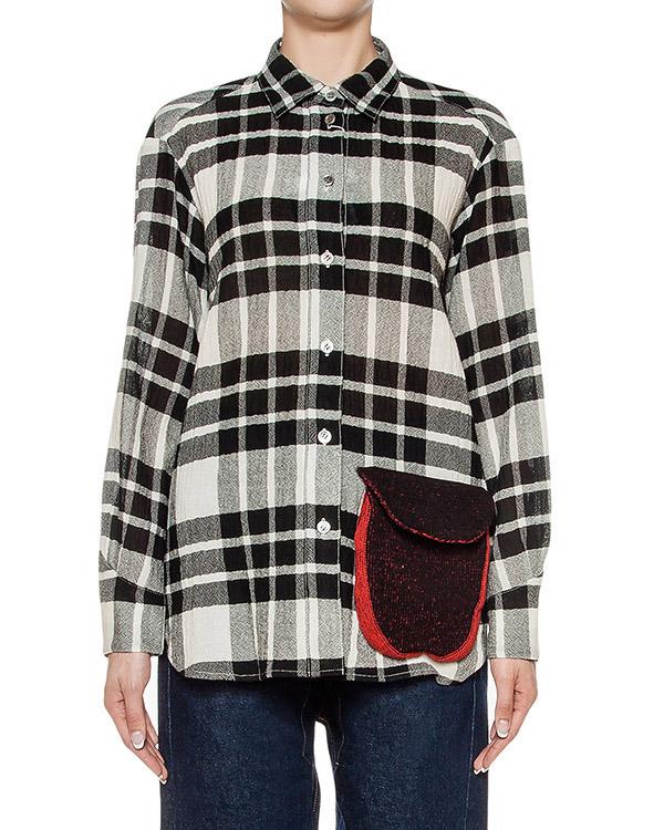 рубашка из шерстяного трикотажа, дополнена накладным вязаным карманом артикул TC69FJ093 марки Tsumori Chisato купить за 20700 руб.