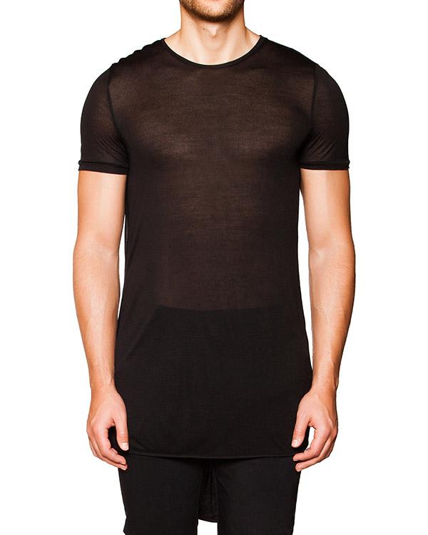 футболка оригинального кроя из мягкой полупрозрачной ткани с драпировкой на спине артикул TU0634-1210 марки TOM REBL купить за 5700 руб.