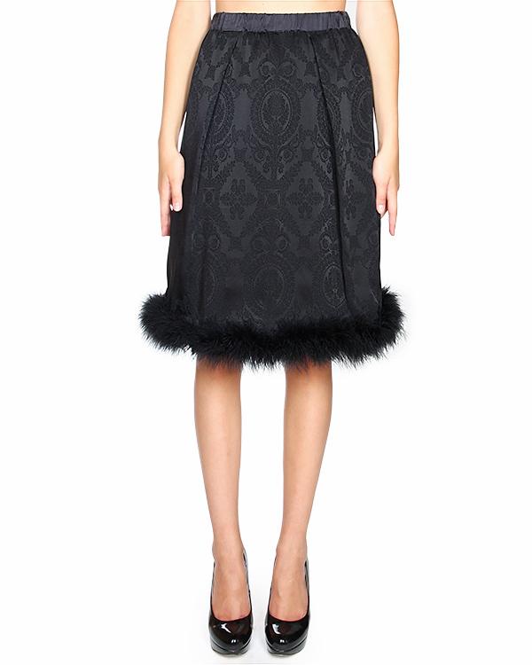юбка из трикотажа с рисунком, по линии подола оторочка из перьев артикул U43056227 марки Hache купить за 29600 руб.
