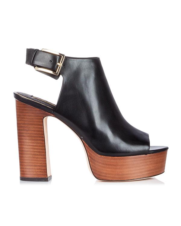 босоножки из гладкой кожи на толстом наборном каблуке и платформе артикул V8002 марки Rachel Zoe купить за 35600 руб.