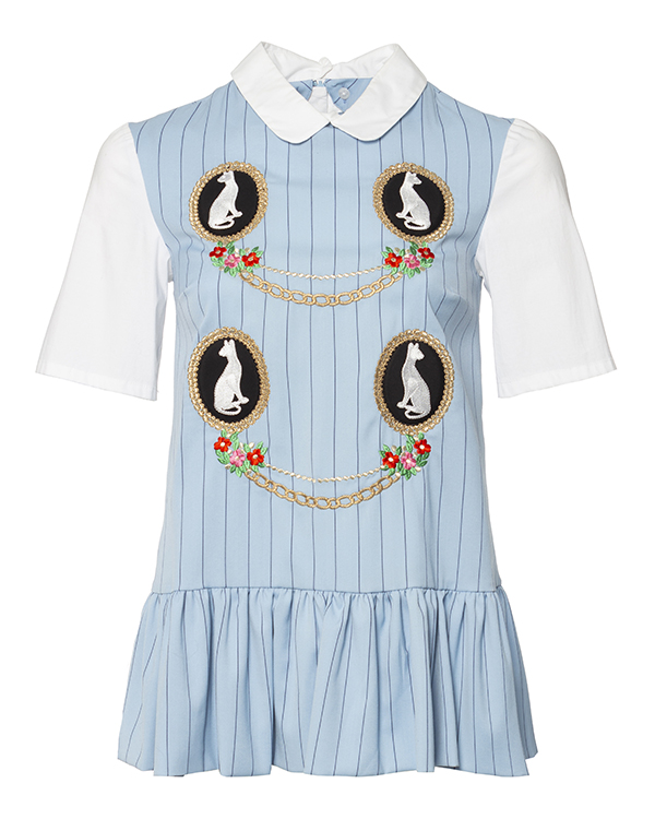 блуза из тонкой ткани в полоску, дополнена контрастными рукавами, баской и нашивками артикул VP270 марки VIVETTA купить за 20300 руб.