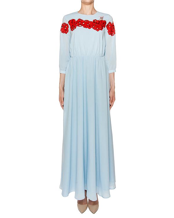 платье в пол из тонкого хлопка с вышивкой и аппликациями артикул VP597 марки VIVETTA купить за 23000 руб.