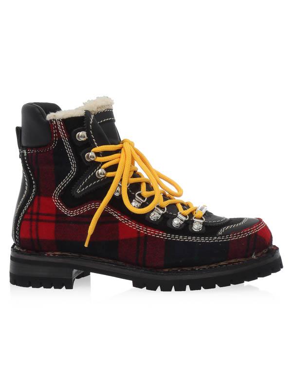 ботинки из кожи и шерсти, утепленные мехом артикул W17R203 марки DSQUARED2 купить за 47900 руб.