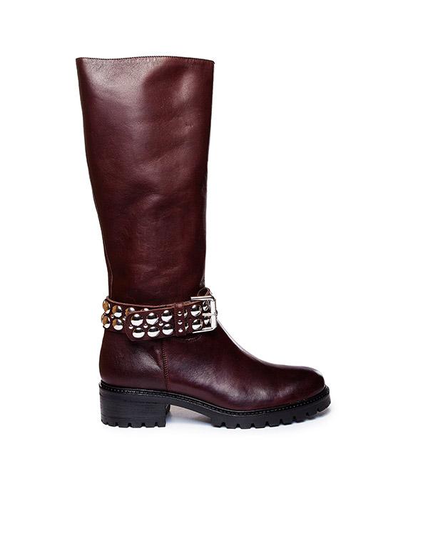 сапоги из натуральной кожи, дополнены ремешком с металлическими заклепками артикул WINNYSHOE060505Z марки P.A.R.O.S.H. купить за 13100 руб.