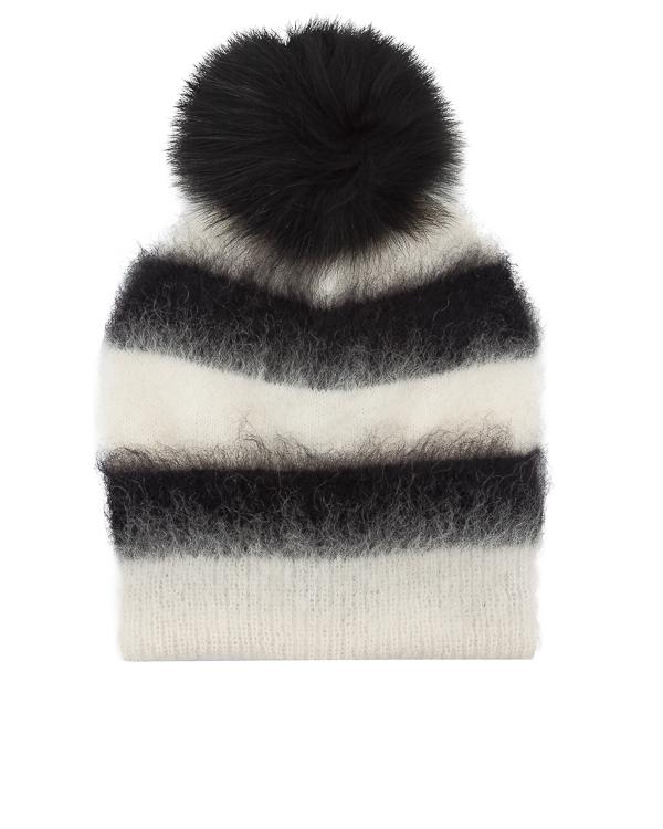шапка из вязаной шерсти и мохера с меховым помпоном артикул WQ065 марки DONDUP купить за 8600 руб.