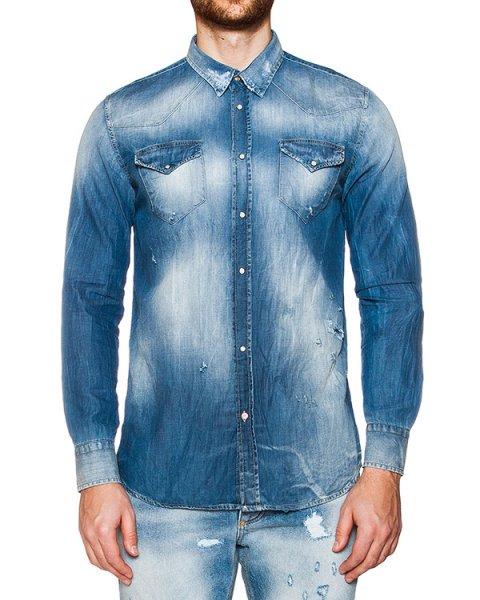 рубашка из выбеленного денима артикул 03381MESSY марки P.M.D.S купить за 7100 руб.