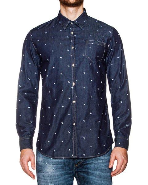 рубашка из денима с вышитыми треугольниками артикул 03382TRIASWING марки P.M.D.S купить за 7100 руб.
