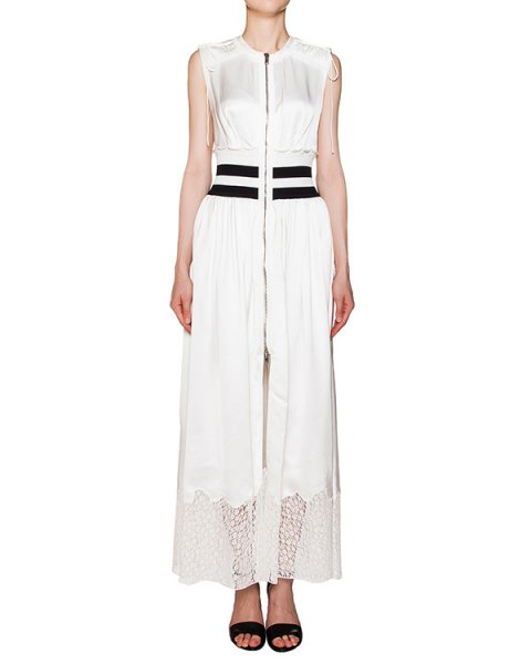платье из гладкой струящейся ткани с кружевной отделкой; дополнено трикотажной резинкой на поясе артикул 108160S16 марки Alexander Wang купить за 52700 руб.