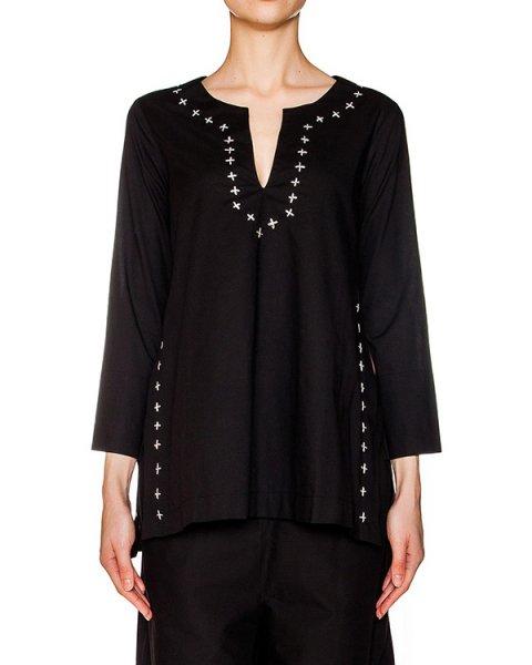 блуза свободного кроя из легкого хлопка, декорирована вышивкой и разрезами по бокам артикул 108 марки Holy Caftan купить за 9400 руб.