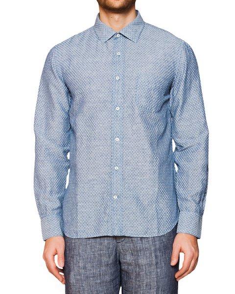 рубашка из натурального льна и хлопка с узором артикул 1281F098 марки 120% lino купить за 13100 руб.