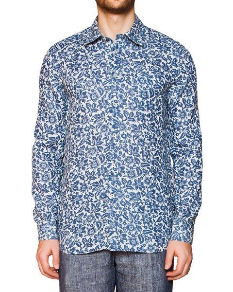 рубашка из легкого натурального льна с цветочным рисунком артикул 1425F100 марки 120% lino купить за 13100 руб.