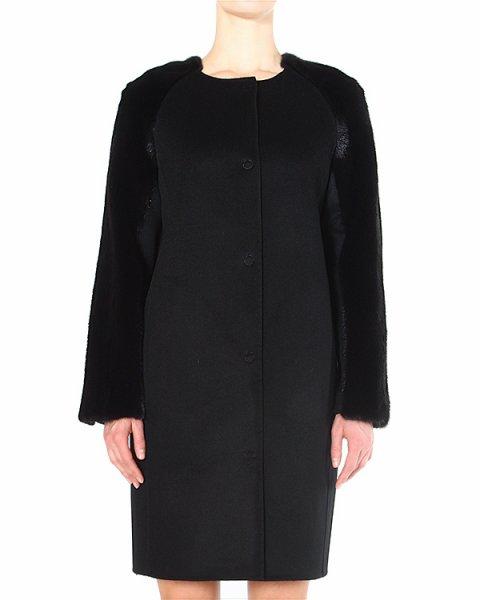 пальто с рукавами, отороченными искристым мехом норки артикул 14M026 марки Manzoni купить за 214500 руб.