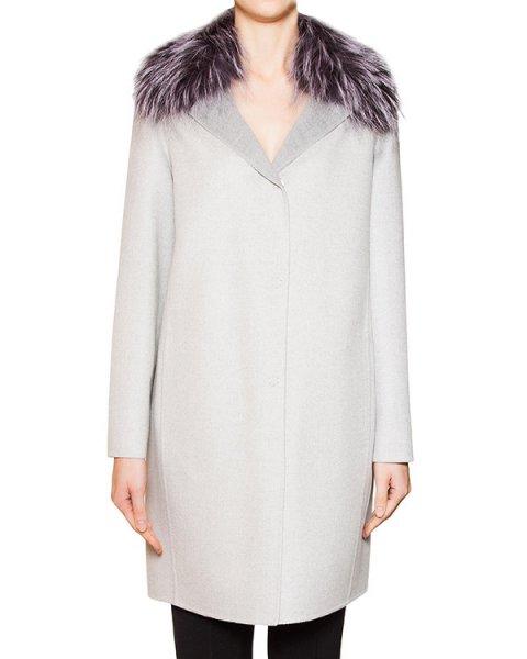 пальто из кашемира Loro Piana с воротником из натурального меха лисы артикул 15M247P марки Manzoni купить за 123500 руб.