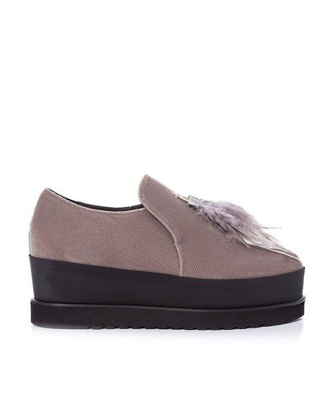 туфли из бархата, украшены перьями артикул 163VEL марки Lemat купить за 23200 руб.