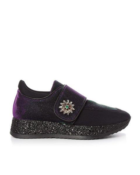 кроссовки из переливающегося текстиля, украшены блестками и кристаллами артикул 164TSN марки Lemat купить за 22400 руб.