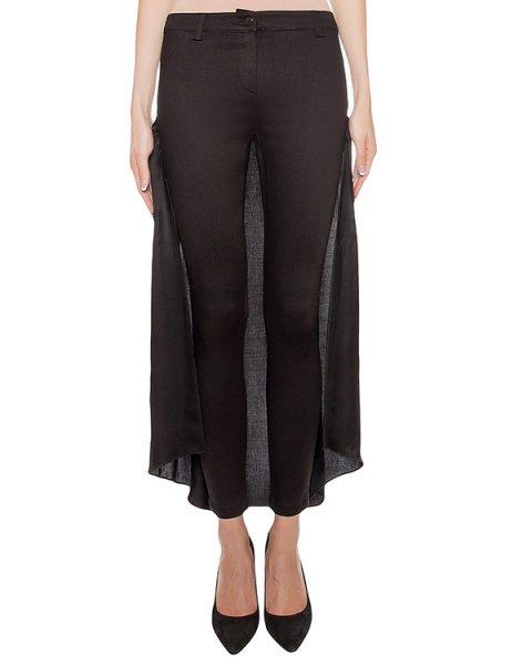 брюки из эластичного денима, дополнены шлейфом из полупрозрачной ткани артикул 17WCALC48 марки Andrea Ya'aqov купить за 24200 руб.