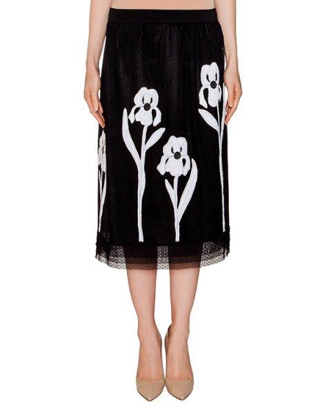 юбка из нескольких полупрозрачных слоев, декорирована цветочной аппликацией артикул 1H9411 марки Antonio Marras купить за 13500 руб.