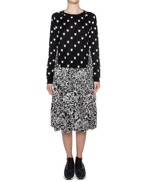 платье из легкой ткани с принтом, дополнено верхом из мягкой шерсти артикул 1I9336 марки Antonio Marras купить за 39200 руб.