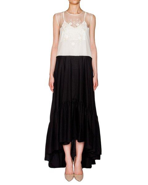 платье асимметричного кроя, дополнено верхом из полупрозрачной органзы с вышивкой артикул 204C марки Holy Caftan купить за 50800 руб.
