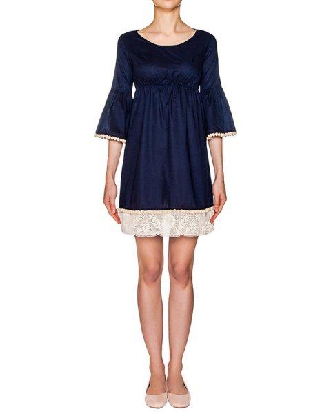 платье из легкого хлопка, дополнено кружевной отделкой и и тесьмой с помпонами артикул 211B марки Holy Caftan купить за 10700 руб.