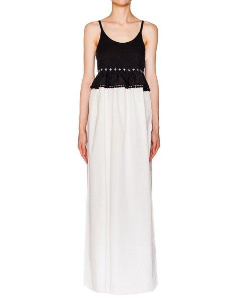 платье в пол из тонкого хлопка, декорировано воланом на талии и тесьмой с помпонами  артикул 217 марки Holy Caftan купить за 8700 руб.