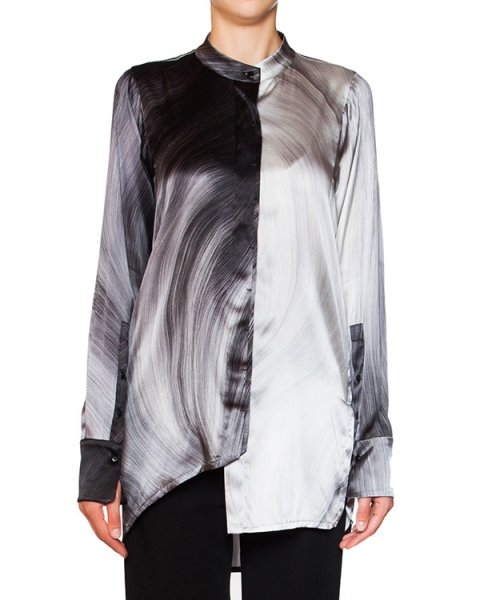 блуза асимметричного кроя из мягкого шелка с принтом артикул 21CY786/19 марки ILARIA NISTRI купить за 25600 руб.