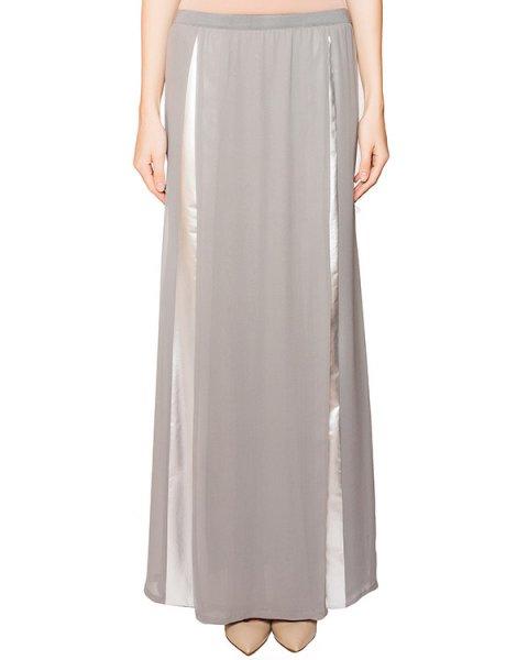 юбка в пол с разрезом, выполнена из легкого шелка и декорирована серебристыми вставками артикул 21GY826/25 марки ILARIA NISTRI купить за 31700 руб.