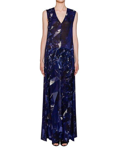 платье в пол из легкого полупрозрачного шелка с абстрактным принтом артикул 22AY928/20 марки ILARIA NISTRI купить за 37300 руб.