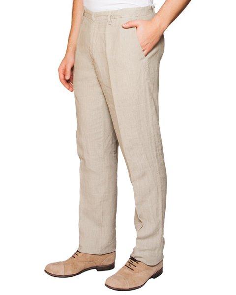 брюки классического прямого кроя из натурального льна артикул 2411D695-001 марки 120% lino купить за 5500 руб.