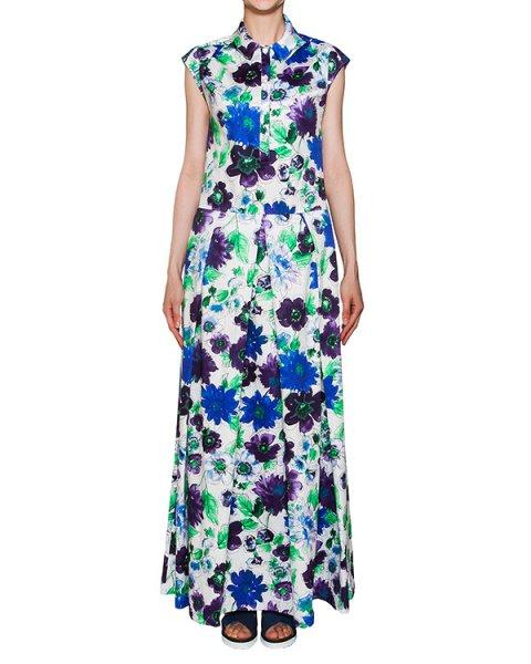 платье в пол из плотного хлопка с цветочным принтом артикул 2414 марки Infinee купить за 17900 руб.