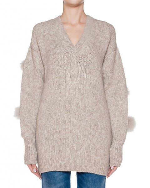 пуловер из мериносовой шерсти и альпаки с меховыми помпонами артикул 2APS4660 марки TIBI купить за 47900 руб.
