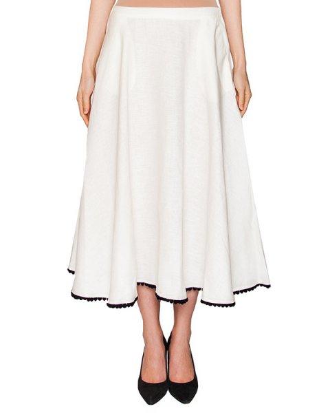 юбка из тонкого льна, декорирована тесьмой с помпонами артикул 306L марки Holy Caftan купить за 10300 руб.