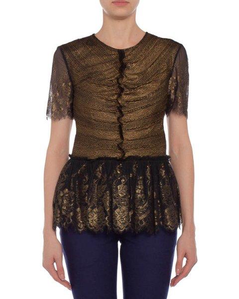 блуза приталенная, с коротким рукавом и кружевной баской артикул 31F4112S марки Marchesa Voyage купить за 12100 руб.