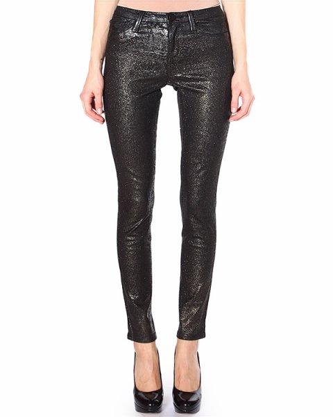 джинсы прилегающего силуэта, с золотистым напылением артикул 31F4504 марки Marchesa Voyage купить за 10200 руб.