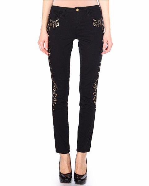 джинсы украшенные токой вышивкой в стиле барокко артикул 31F4506 марки Marchesa Voyage купить за 12100 руб.