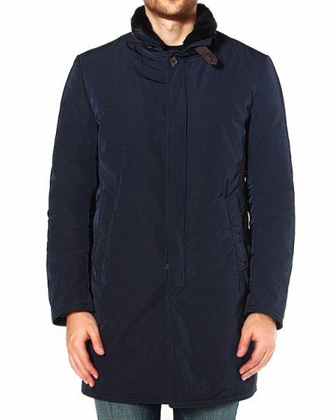 пальто со вставками из натуральной кожи на вороте артикул 330045 марки Gimos купить за 69300 руб.