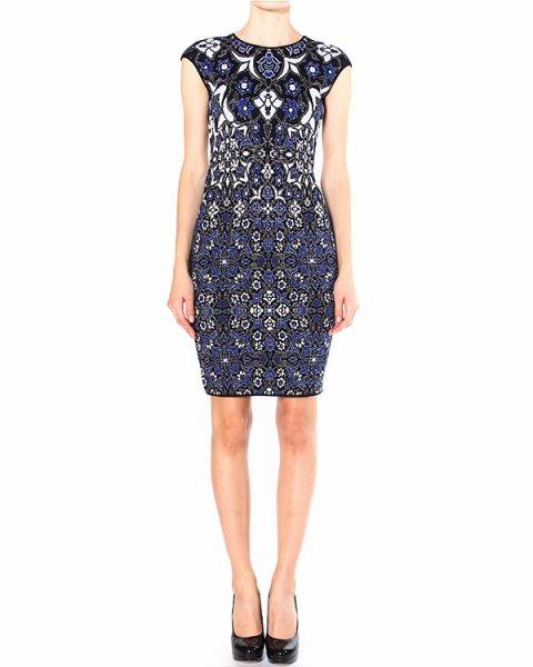 платье из сложнотканной шерсти с многоцветным узором артикул 39549 марки D.EXTERIOR купить за 13400 руб.