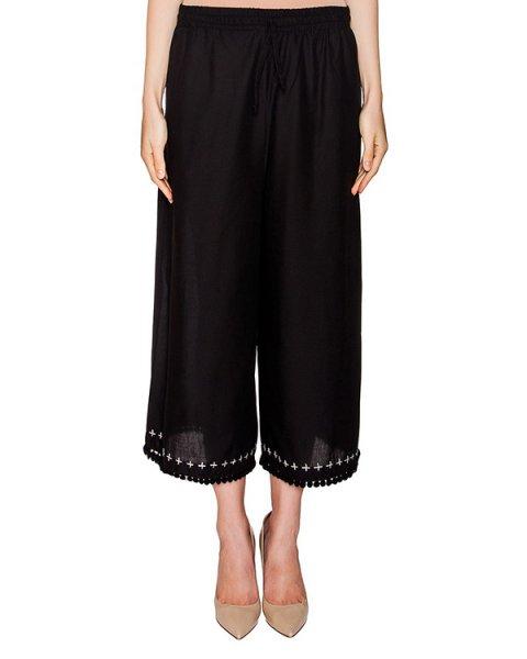 брюки свободного кроя из легкого хлопка, декорированы вышивкой и тесьмой с помпонами артикул 405 марки Holy Caftan купить за 18500 руб.
