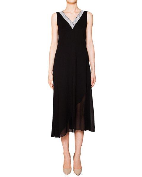 платье из тонкого трикотажа, декорирован полупрозрачной вставкой и контрастной отделкой артикул 42641 марки D.EXTERIOR купить за 9900 руб.