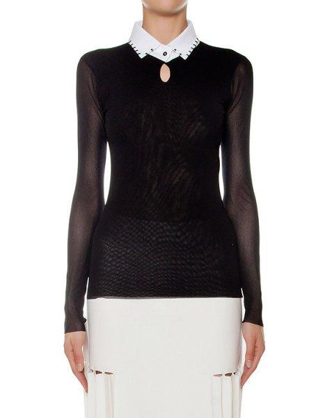 блуза из тонкой эластичной ткани, дополнен полупрозрачными рукавами и контрастным воротником артикул 43771 марки D.EXTERIOR купить за 15400 руб.