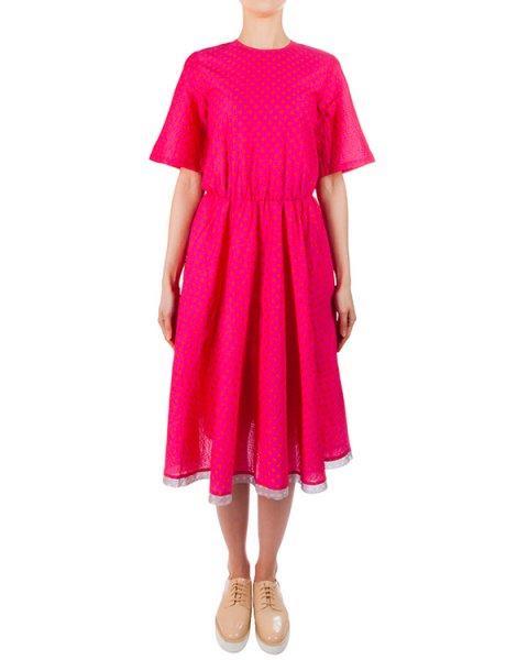 платье из мягкого хлопка насыщенного розового цвета в мелкий горох артикул 5486-20 марки Poustovit купить за 13200 руб.
