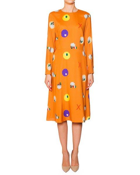 платье из тонкого шелка яркого цвета с абстрактным принтом артикул 5705-4 марки Poustovit купить за 27000 руб.