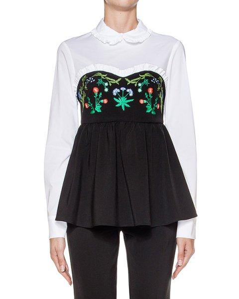 блуза с контрастной баской, декорирована цветочной вышивкой артикул 64VV208 марки VIVETTA купить за 15400 руб.