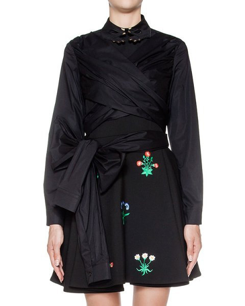 блуза оригинального дизайна из хлопка; завязывается вокруг талии артикул 64VV216 марки VIVETTA купить за 12400 руб.