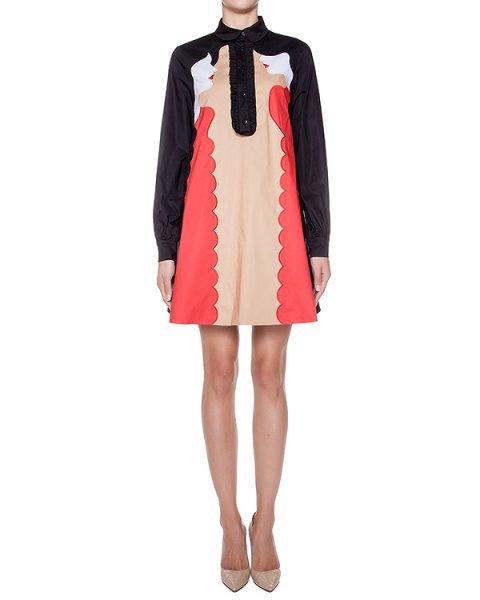 платье из хлопка с контрастной отделкой и вышивкой артикул 64VV568 марки VIVETTA купить за 28000 руб.