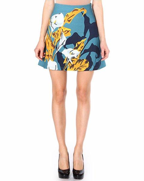 юбка с посадкой на талии и эффектным цветочным орнаментом артикул 780JU11 марки Carven купить за 8800 руб.